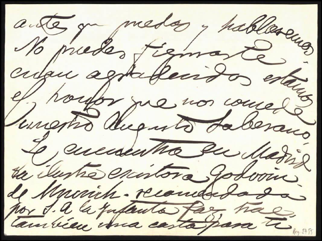 Postkarte von Benlliure an den Marqués de la Vega-Inclán: