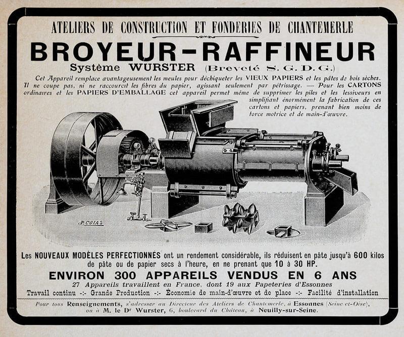 Anzeige für den Wurster-Zerfaserer aus dem Jahr 1907