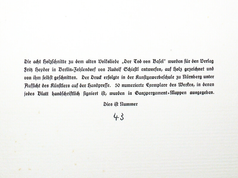 Schiestl: Der Tod von Basel –Kolophon