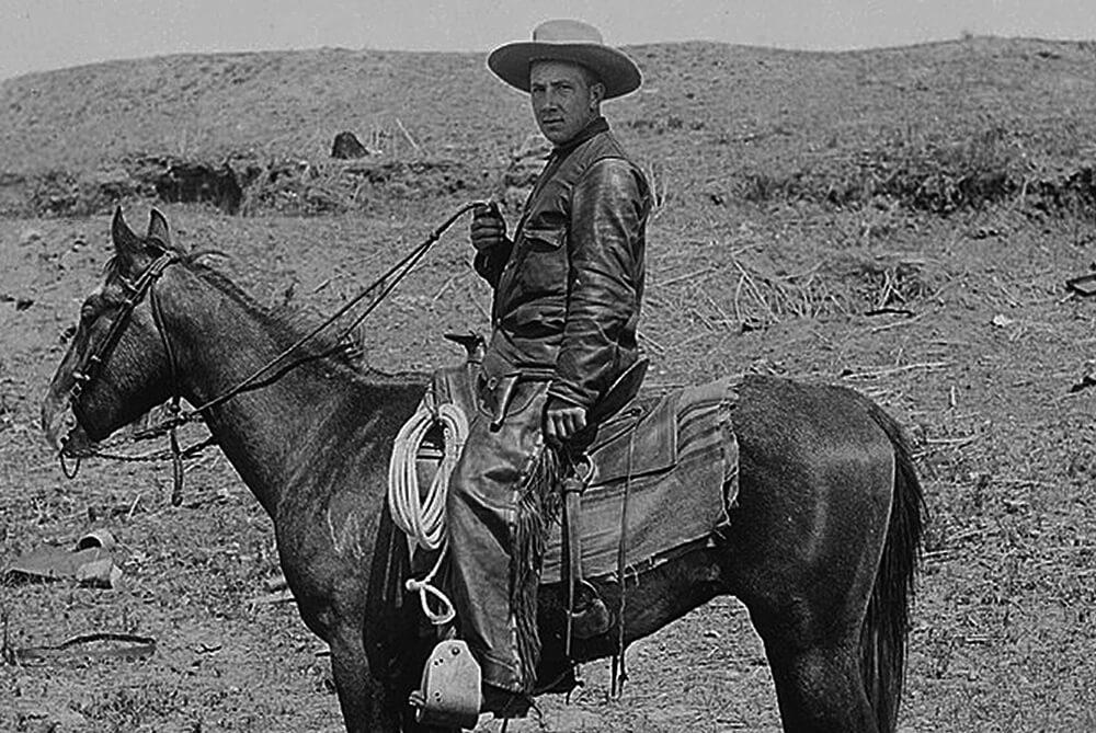 """Erard Wurster auf seiner """"Sioux Ranch"""" bei Gayton, Emmons County, N.D., um 1892"""